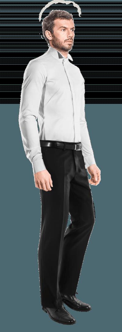 Weißes poplin Baumwolle Doppelte Manschetten Krawatten Kragen Hemd Smoking