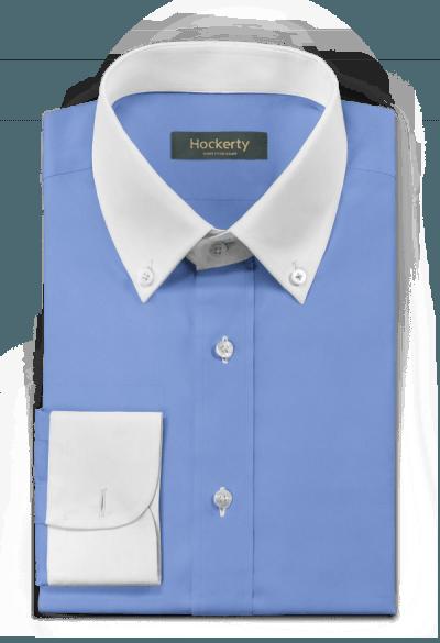 Chemise bleue boutons de manchette 100% coton
