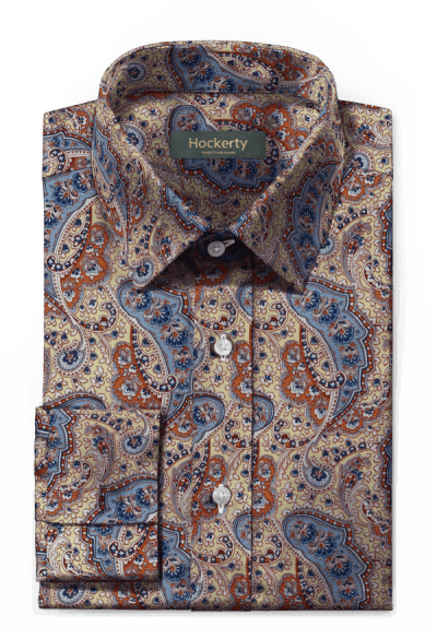 Beige french cuff paisley 100% cotton Shirt