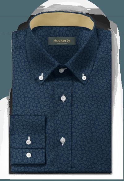 Chemise bleue à motif floral 100% coton