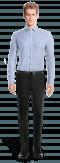 Blue striped 100% cotton Shirt-View Front