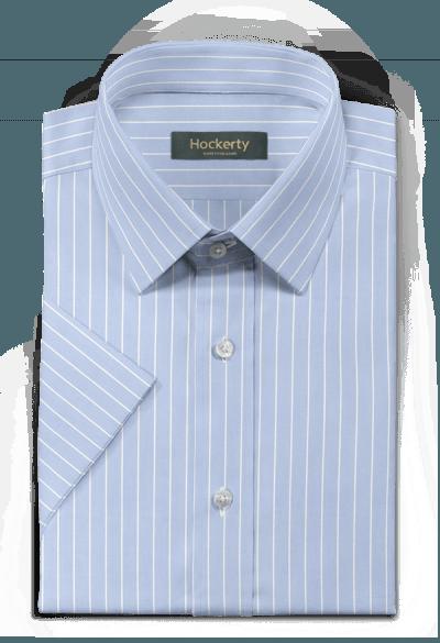 Blue short sleeved striped 100% cotton Shirt