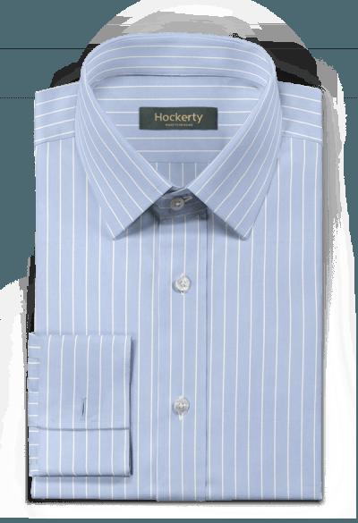 Chemise bleue boutons de manchette à rayures 100% coton