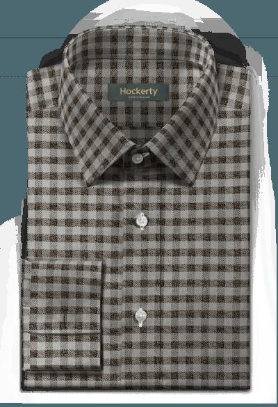 Graues kariertes flanell Hemd mit Umschlag