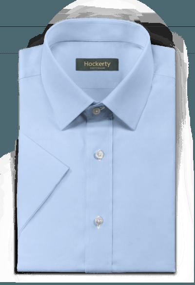 синяя хлопковая рубашка с коротким рукавом