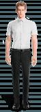 Chemise blanche manches courtes 100% coton-Vue Avant