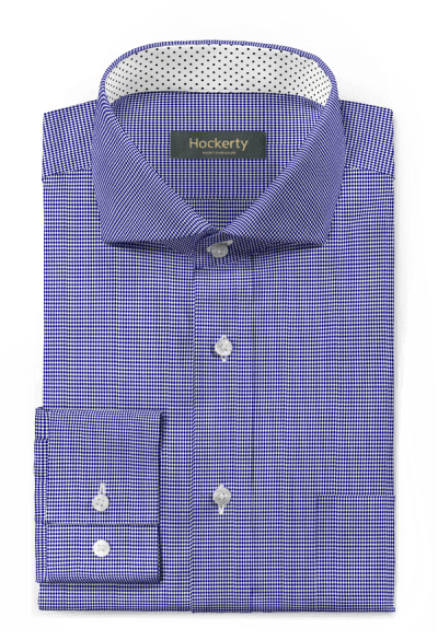Blaues hahnentritt Hemd aus Baumwolle