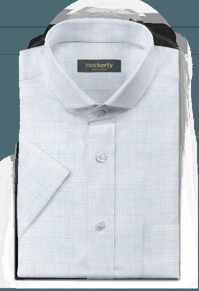 Chemise bleue manches courtes en lin