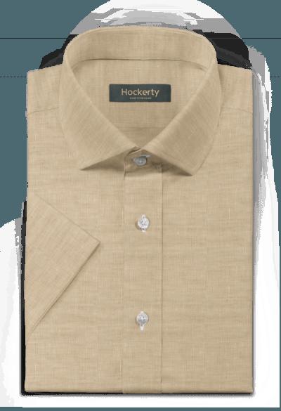 Beige short sleeved linen Shirt
