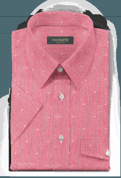 Chemise rose manches courtes à rayures en lin