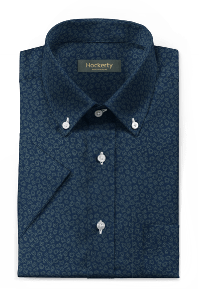 Blue short sleeved floral 100% cotton Shirt