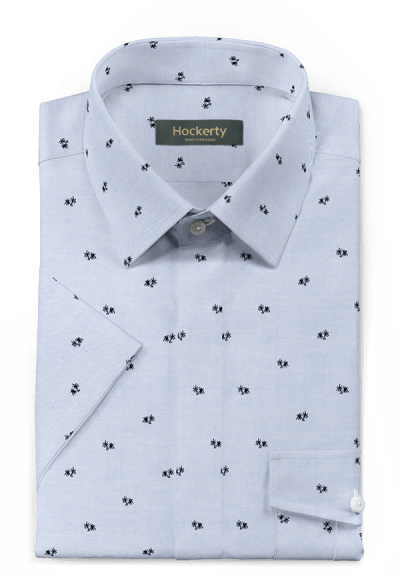 Camicia a maniche corte blu micropattern 100% cotone