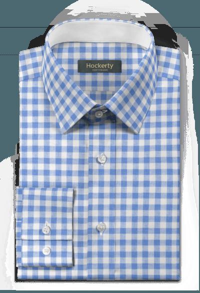 Camicia blu a quadri di lino