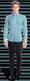 Camicia oxford blu-Vista Frontale