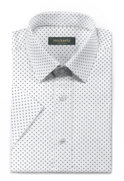 Chemise blanche manches courtes micropattern 100% coton