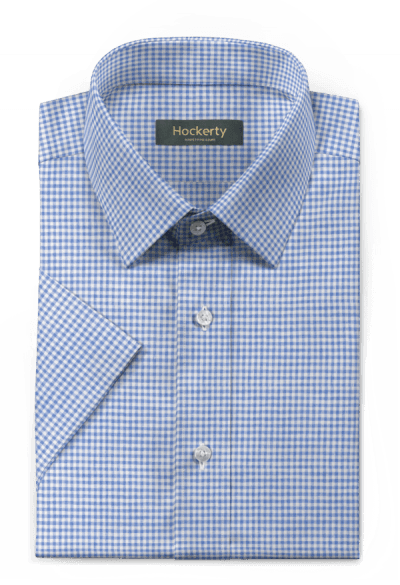 Blue short sleeved checked linen Shirt