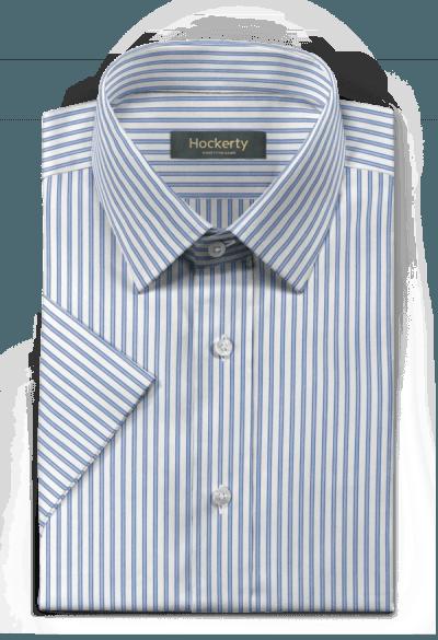 синяя хлопковая рубашка с коротким рукавом в полоску
