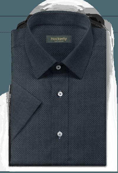 Chemise bleue manches courtes à pois 100% coton