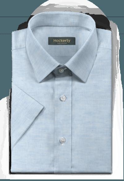 Camicia a maniche corte blu di lino