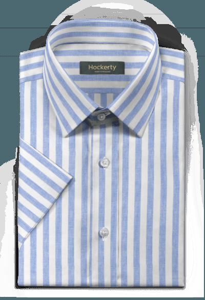 Chemise bleue manches courtes à rayures en lin