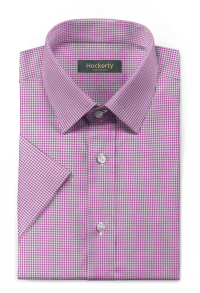 Purple short sleeved checked 100% cotton Shirt