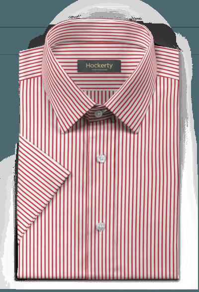 Chemise rouge manches courtes à rayures 100% coton