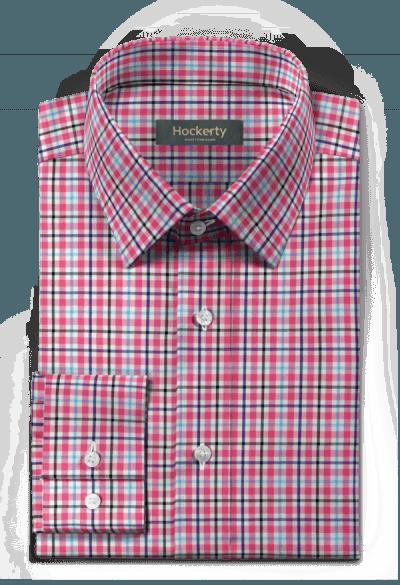 Pinkes kariertes Hemd aus Baumwolle