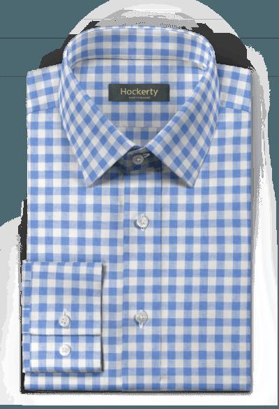 Blaues kariertes Hemd aus Leinen