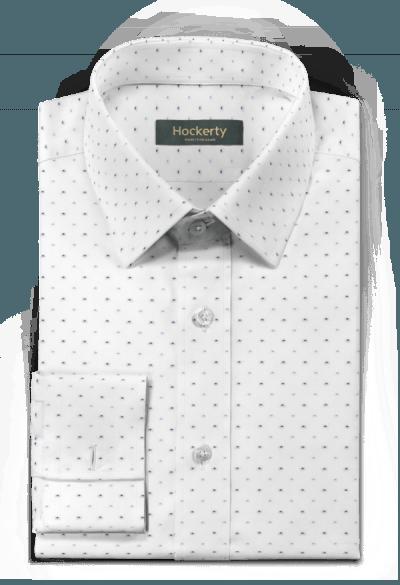 Camicia gemelli bianca a pois 100% cotone