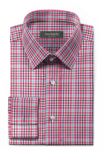 Pink french cuff checked 100% cotton Shirt