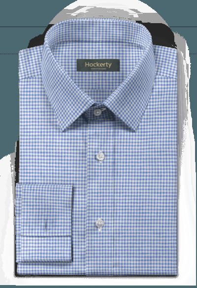 синяя льняная рубашка с запонками в клетку