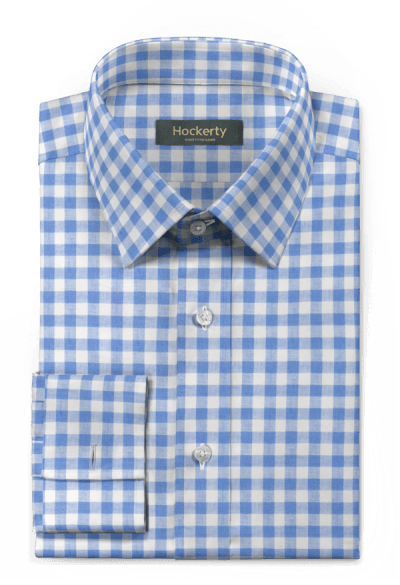 Blue french cuff checked linen Shirt