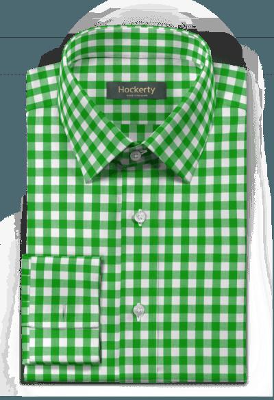 Grünes kariertes Hemd mit Umschlag & aus Baumwolle