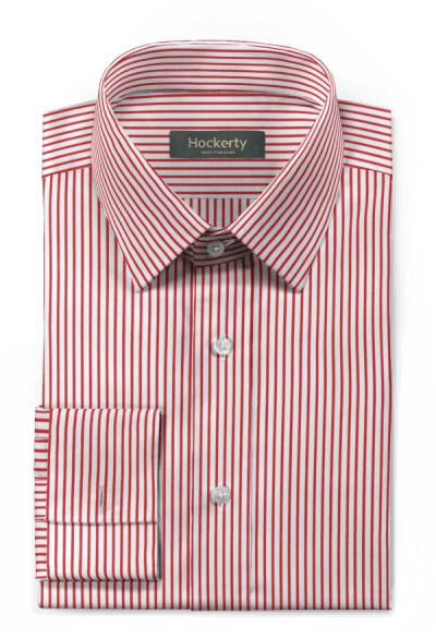 Red french cuff striped 100% cotton Shirt