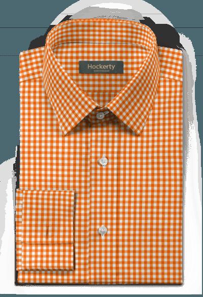 Orange french cuff checked 100% cotton Shirt