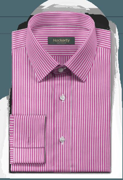 Chemise mauve boutons de manchette à rayures 100% coton