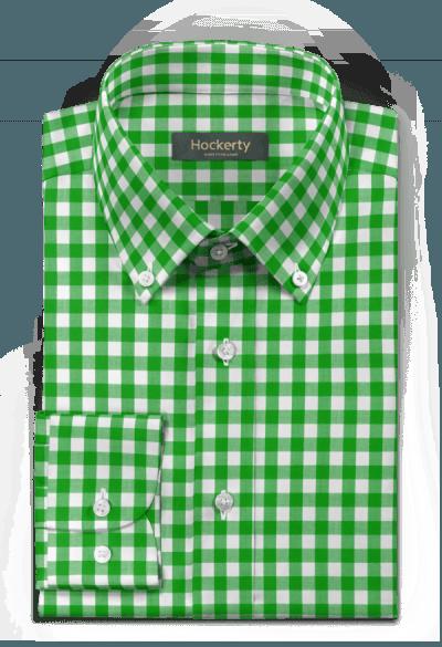 Chemise verte à carreaux 100% coton