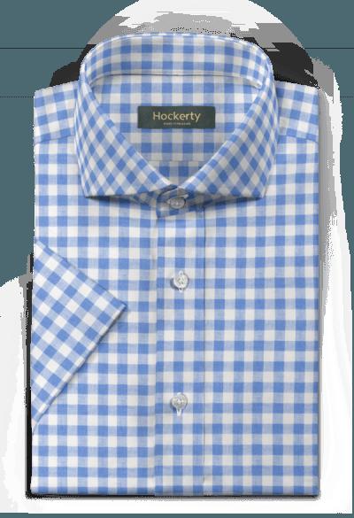 Blue short sleeved checked linen Shirt