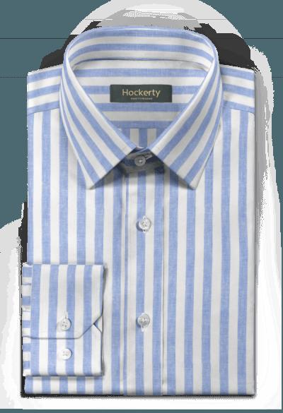 Camicia blu gessata di lino