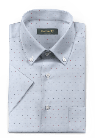 Blue short sleeved dotted 100% cotton Shirt