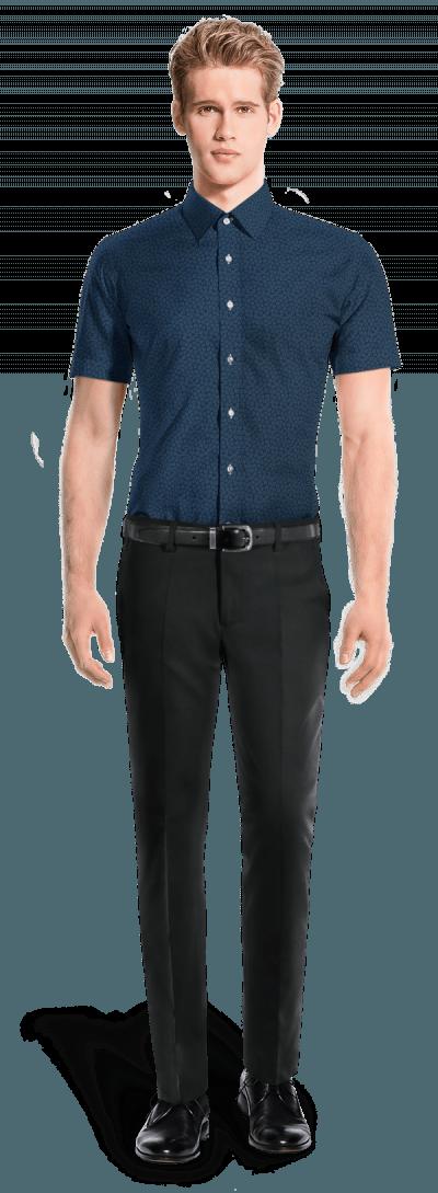 Chemise bleue manches courtes à motif floral 100% coton