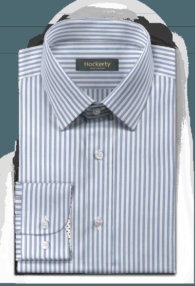 Camicia blu gessata 100% cotone
