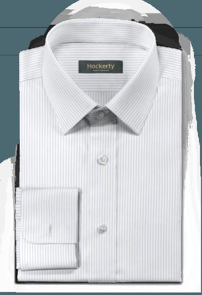 Chemise blanche boutons de manchette à rayures 100% coton