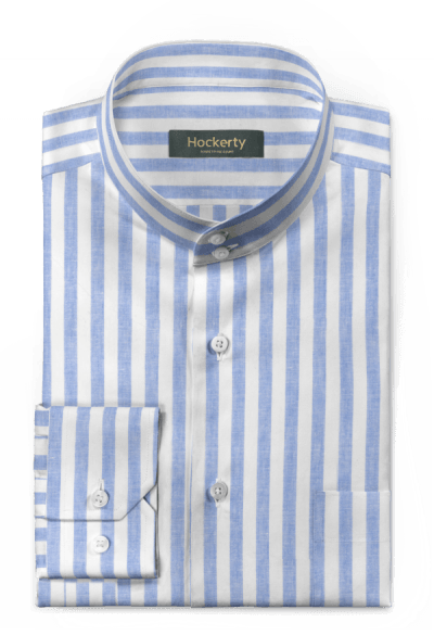 Blaues gestreiftes Hemd aus Leinen