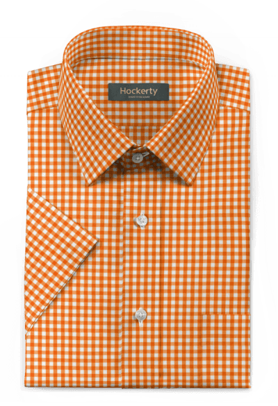 Orange short sleeved checked 100% cotton Shirt