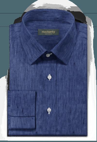 Blaues Hemd mit Umschlag & aus Leinen
