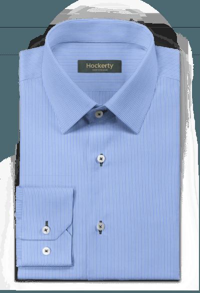 синяя хлопковая рубашка в полоску