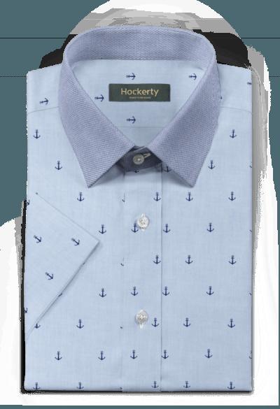 Blue short sleeved micropattern 100% cotton Shirt