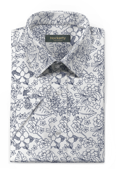 White short sleeved floral 100% cotton Shirt