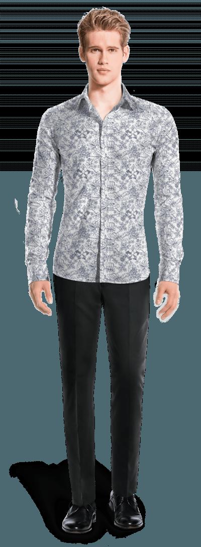 check out 687dd 7943f Weißes blumenmuster Hemd aus Baumwolle
